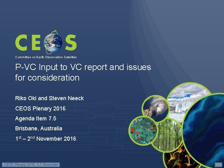 Committee on Earth Observation Satellites P-VC Input to VC report and issues for consideration