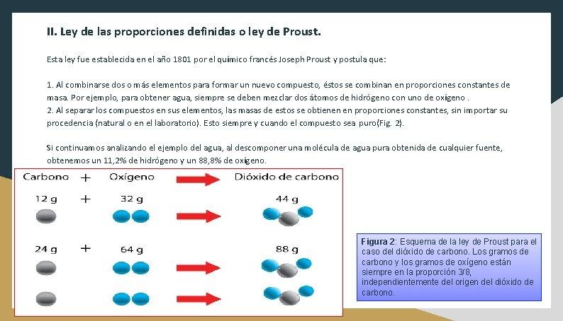 II. Ley de las proporciones definidas o ley de Proust. Esta ley fue establecida