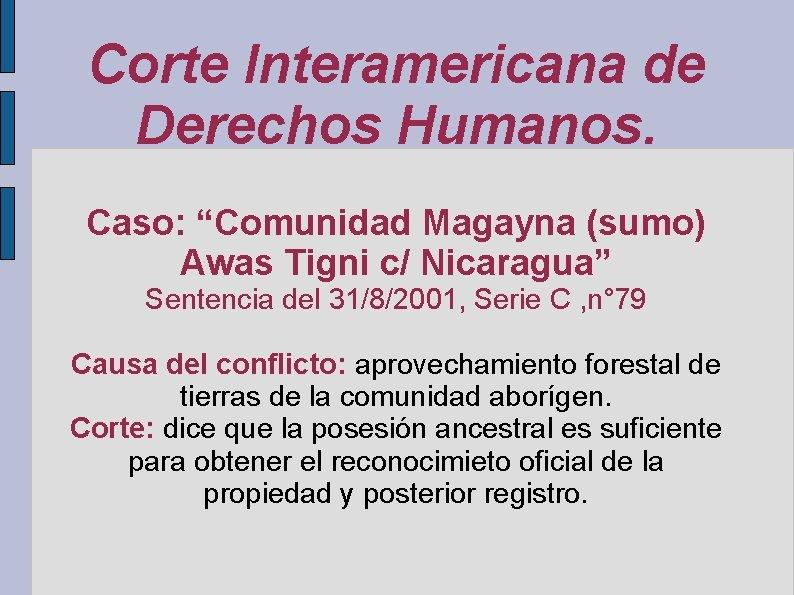 """Corte Interamericana de Derechos Humanos. Caso: """"Comunidad Magayna (sumo) Awas Tigni c/ Nicaragua"""" Sentencia"""