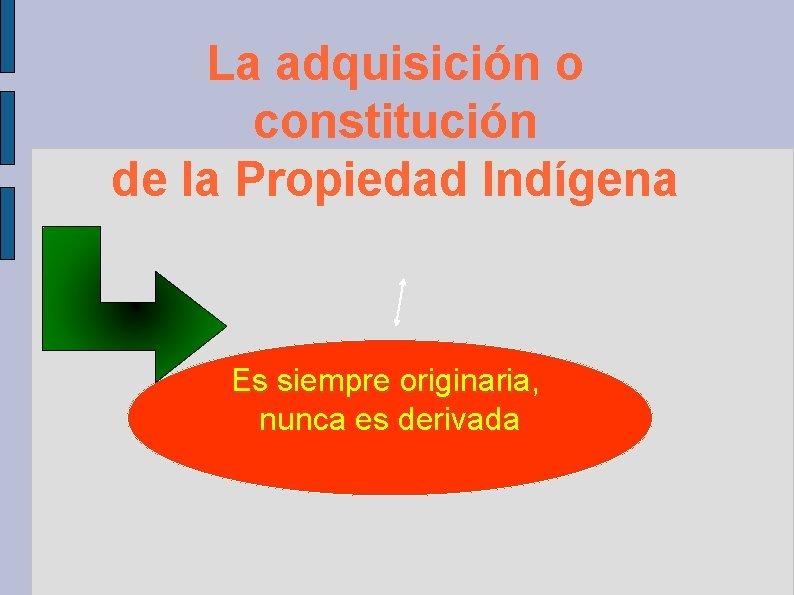 La adquisición o constitución de la Propiedad Indígena Es siempre originaria, nunca es derivada