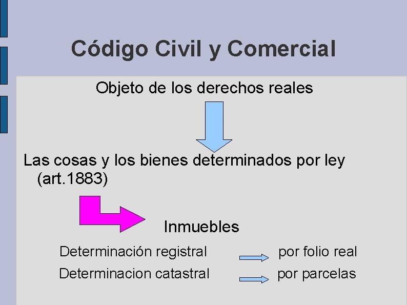 Código Civil y Comercial Objeto de los derechos reales Las cosas y los bienes