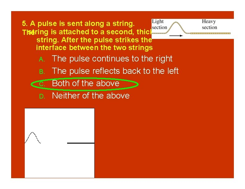 5. A pulse is sent along a string is attached to a second, thicker