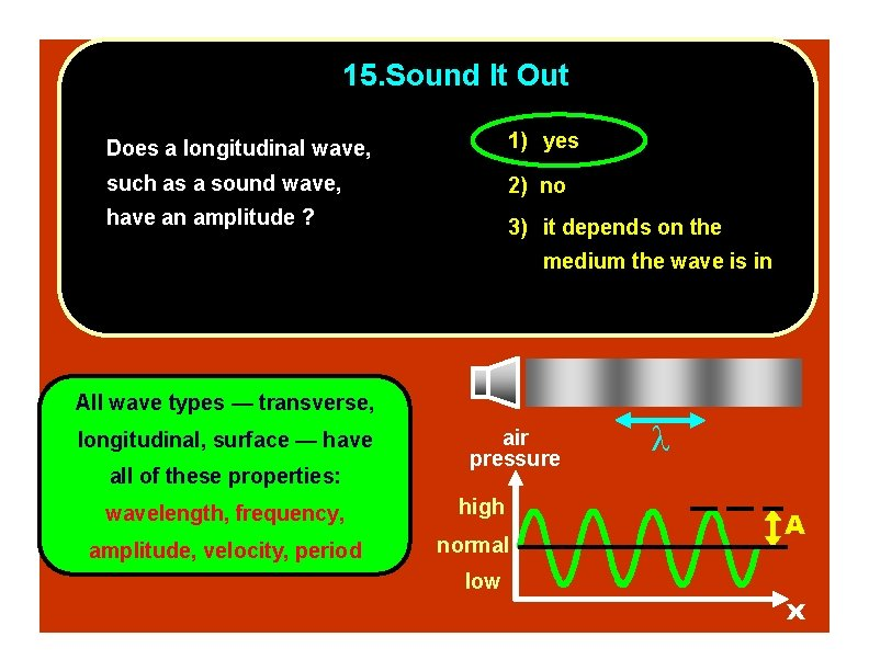 15. Sound It Out Does a longitudinal wave, 1) yes such as a sound