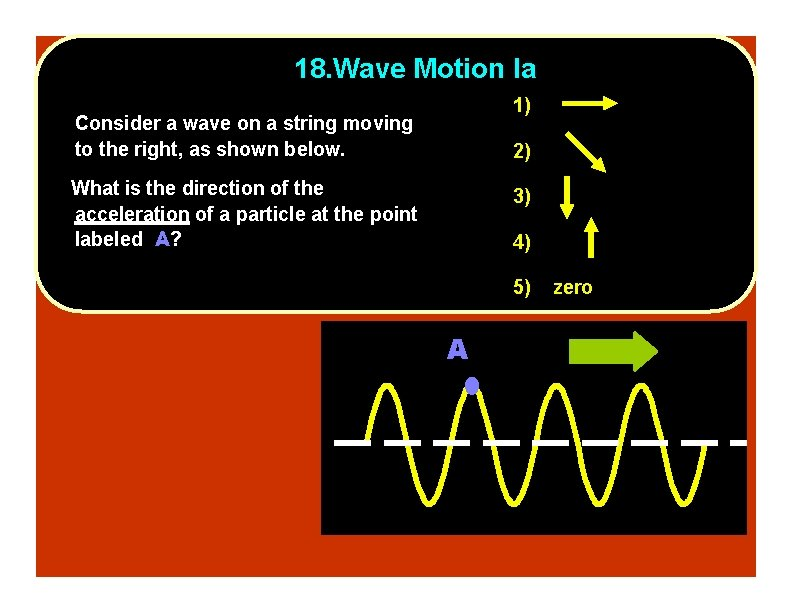 18. Wave Motion Ia 1) Consider a wave on a string moving to the