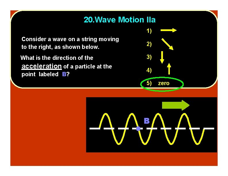 20. Wave Motion IIa 1) Consider a wave on a string moving to the