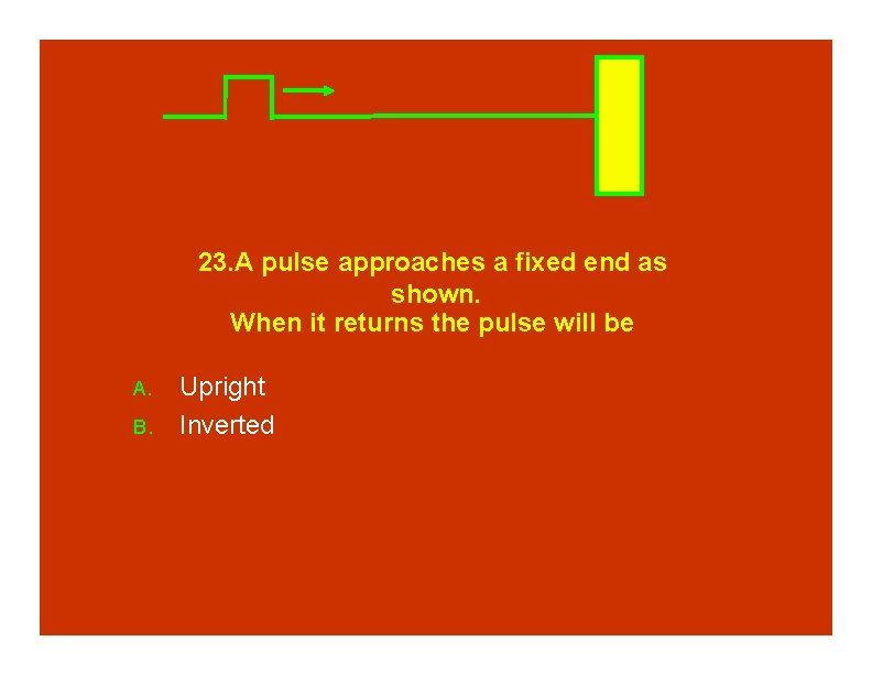 23. A pulse approaches a fixed end as shown. When it returns the pulse
