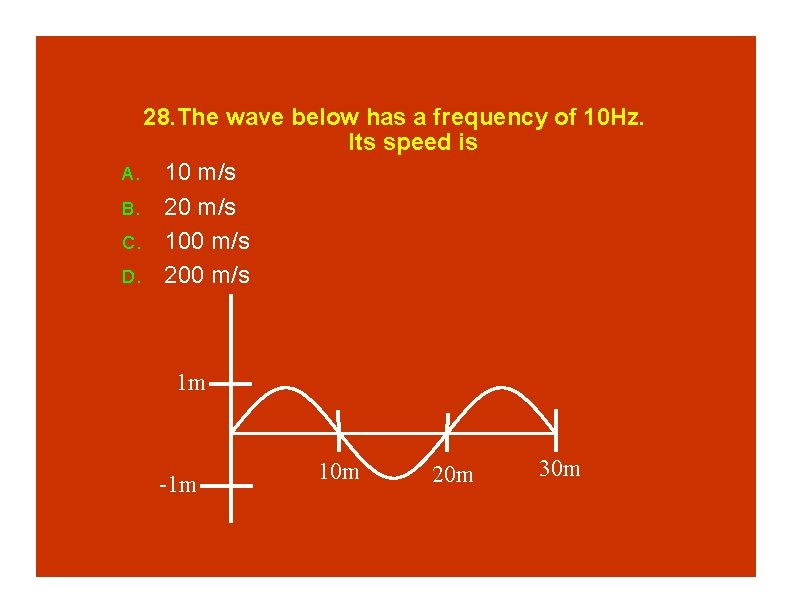 28. The wave below has a frequency of 10 Hz. Its speed is A.