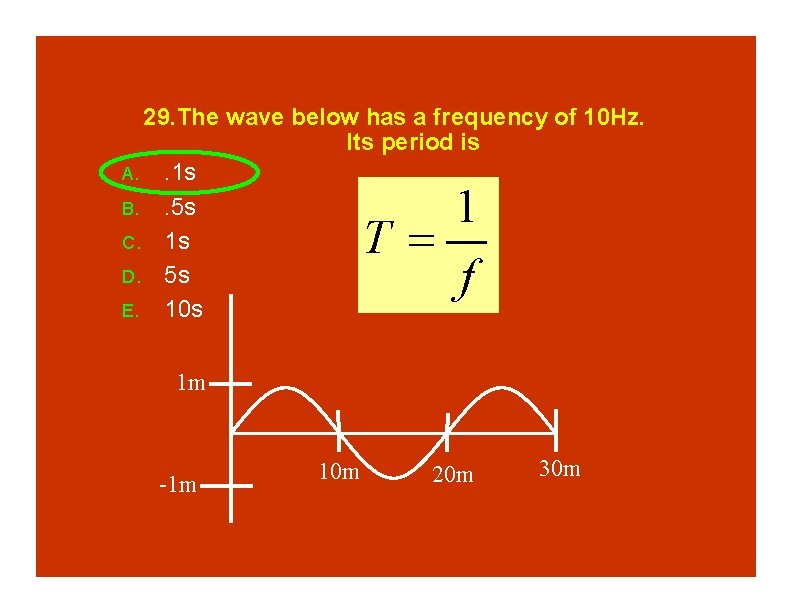 29. The wave below has a frequency of 10 Hz. Its period is A.