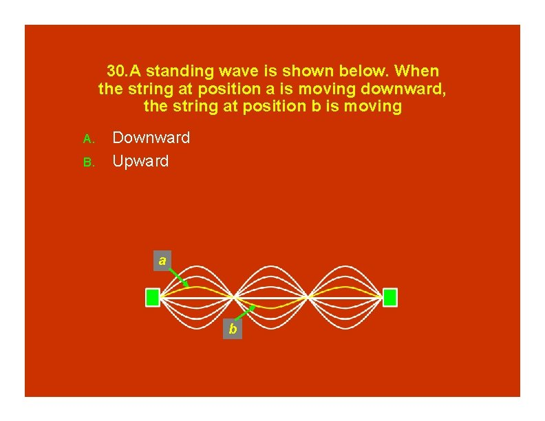 30. A standing wave is shown below. When the string at position a is