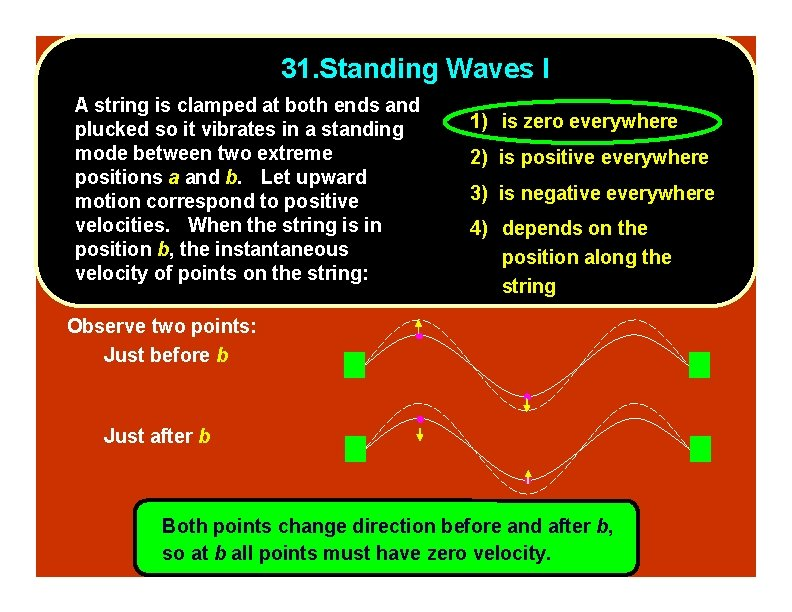 31. Standing Waves I A string is clamped at both ends and plucked so