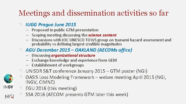 Meetings and dissemination activities so far IUGG Prague June 2015 ─ Proposed in public