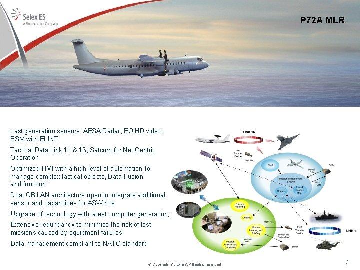 P 72 A MLR Last generation sensors: AESA Radar, EO HD video, ESM with