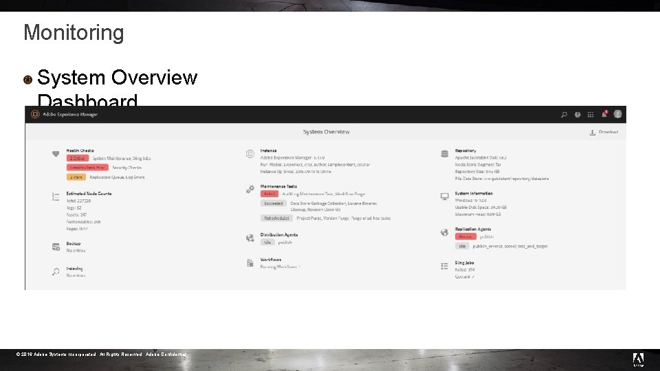 Monitoring System Overview Dashboard © 2016 Adobe Systems Incorporated. All Rights Reserved. Adobe Confidential.