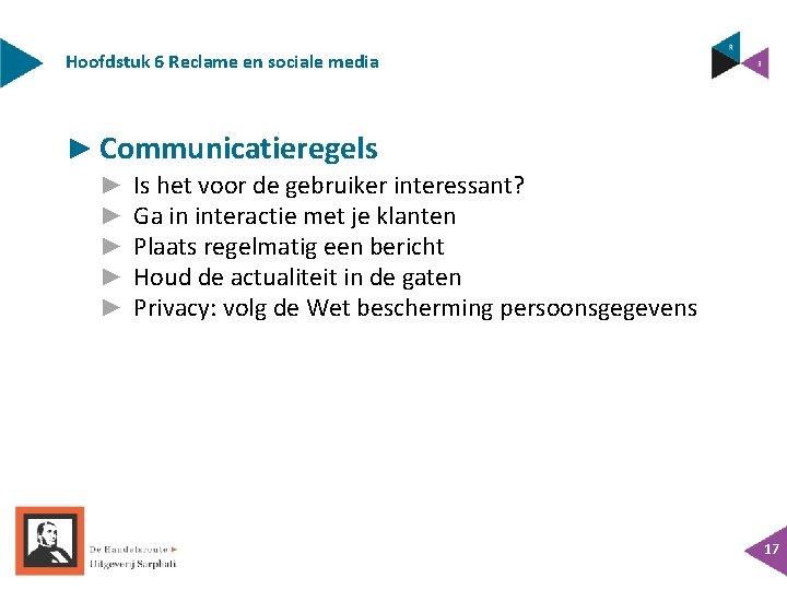Hoofdstuk 6 Reclame en sociale media ► Communicatieregels ► ► ► Is het voor