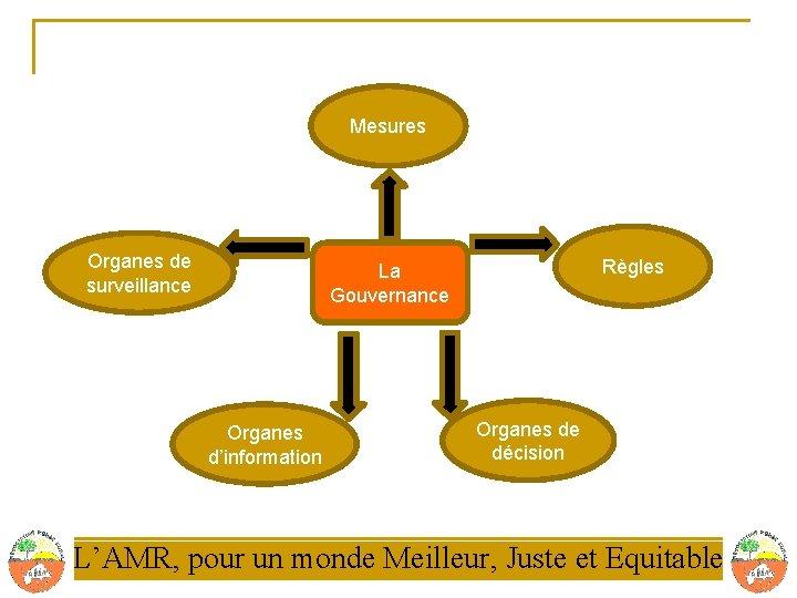 Mesures Organes de surveillance Règles La Gouvernance Organes d'information Organes de décision L'AMR, pour