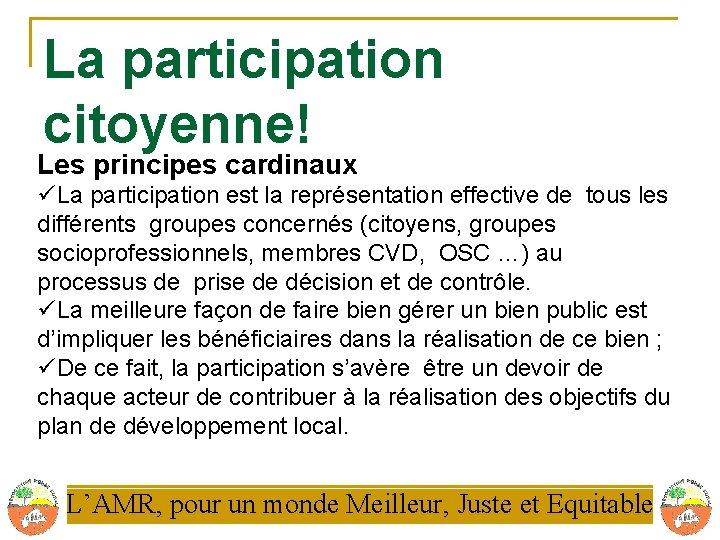 La participation citoyenne! Les principes cardinaux üLa participation est la représentation effective de tous