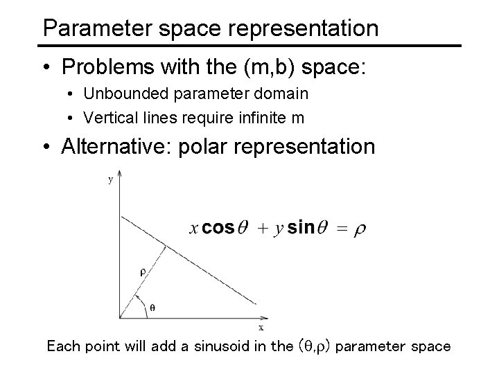 Parameter space representation • Problems with the (m, b) space: • Unbounded parameter domain