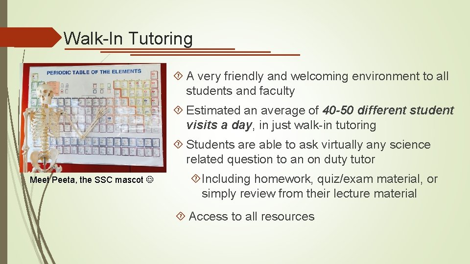 Walk-In Tutoring A very friendly and welcoming environment to all students and faculty Estimated