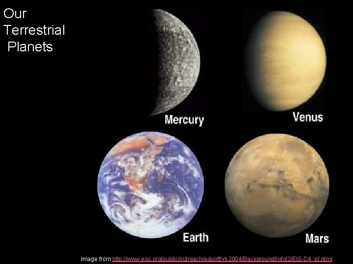Our Terrestrial Planets Image from http: //www. eso. org/public/outreach/eduoff/vt-2004/Background/Infol 2/EIS-D 4_pf. html