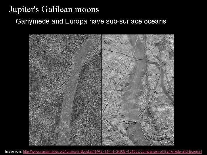 Jupiter's Galilean moons Ganymede and Europa have sub-surface oceans Image from: http: //www. nasaimages.