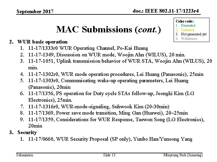 doc. : IEEE 802. 11 -17/1223 r 4 September 2017 MAC Submissions (cont. )