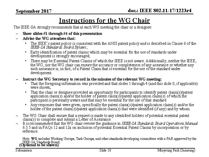 doc. : IEEE 802. 11 -17/1223 r 4 September 2017 Instructions for the WG