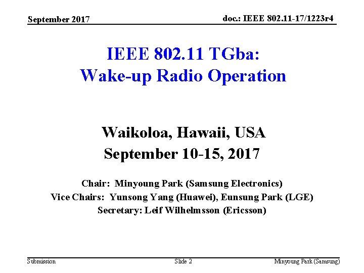 doc. : IEEE 802. 11 -17/1223 r 4 September 2017 IEEE 802. 11 TGba:
