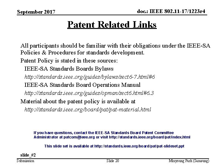 doc. : IEEE 802. 11 -17/1223 r 4 September 2017 Patent Related Links All