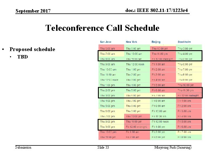 doc. : IEEE 802. 11 -17/1223 r 4 September 2017 Teleconference Call Schedule •