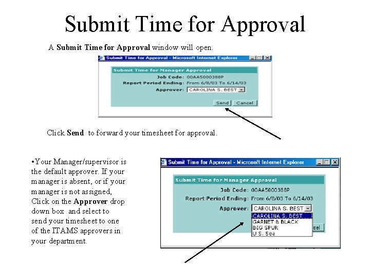 Submit Time for Approval A Submit Time for Approval window will open. Click Send