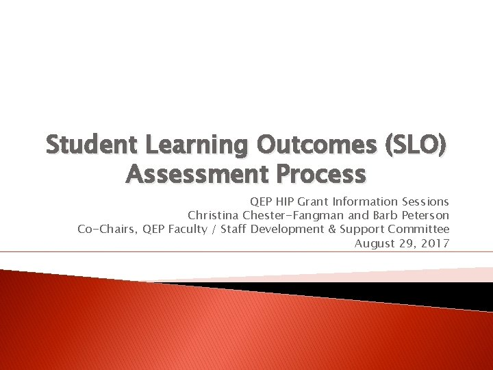 Student Learning Outcomes (SLO) Assessment Process QEP HIP Grant Information Sessions Christina Chester-Fangman and