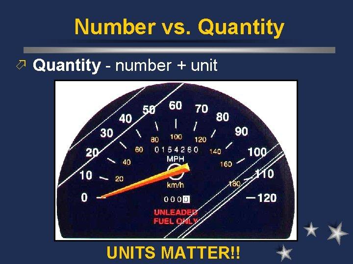 Number vs. Quantity ö Quantity - number + unit UNITS MATTER!!