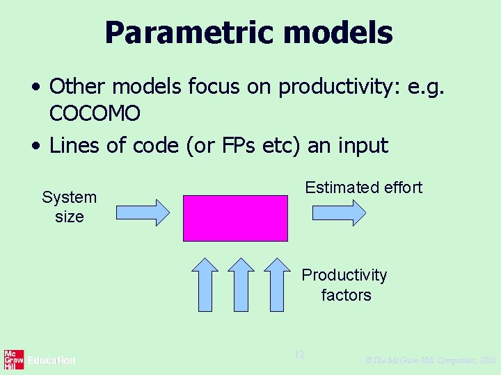 Parametric models • Other models focus on productivity: e. g. COCOMO • Lines of