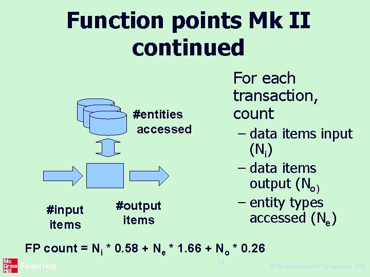 Function points Mk II continued For each transaction, count #entities accessed #input items –