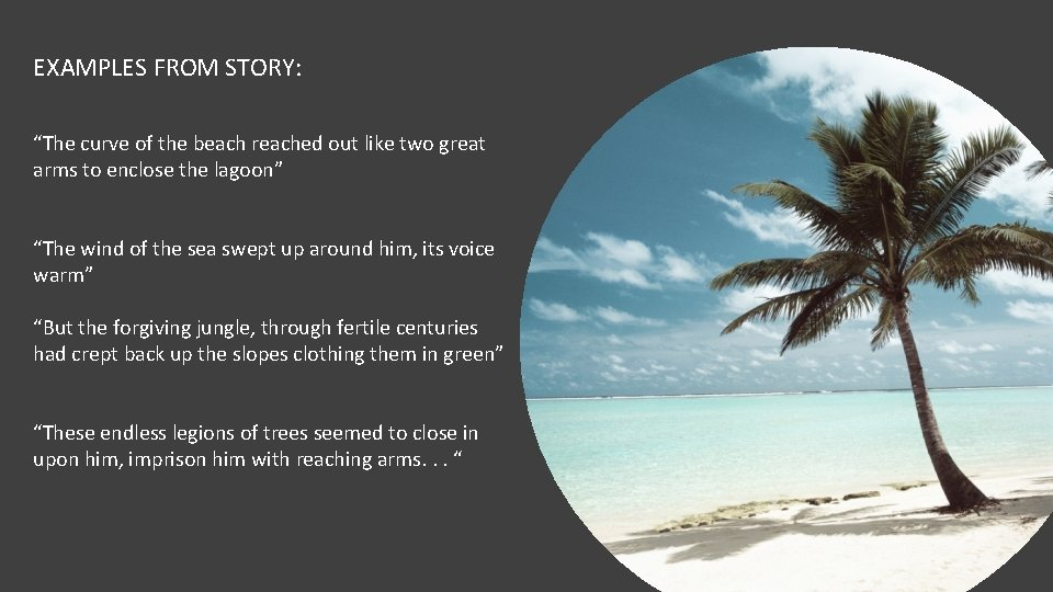 """EXAMPLES FROM STORY: """"The curve of the beach reached out like two great arms"""