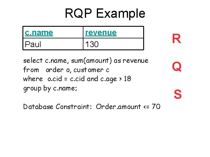 RQP Example c. name Paul revenue 130 select c. name, sum(amount) as revenue from