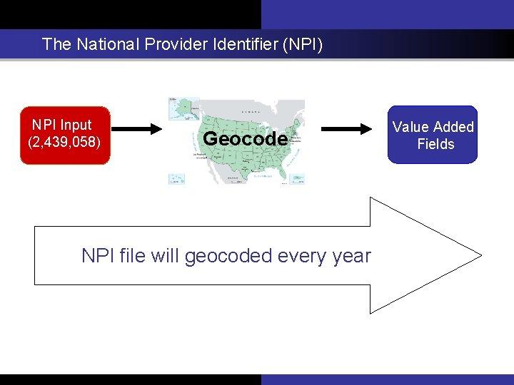 The National Provider Identifier (NPI) NPI Input (2, 439, 058) Geocode NPI file will