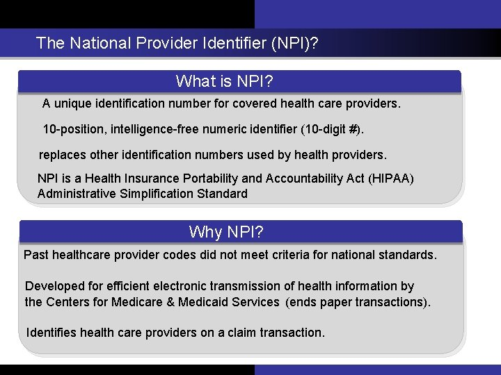 The National Provider Identifier (NPI)? What is NPI? A unique identification number for covered