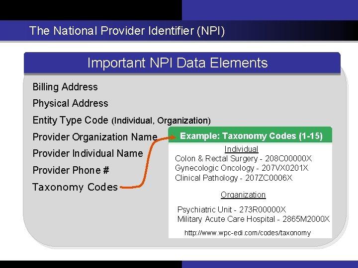 The National Provider Identifier (NPI) Important NPIData Elements Important NPI Billing Address Physical Address