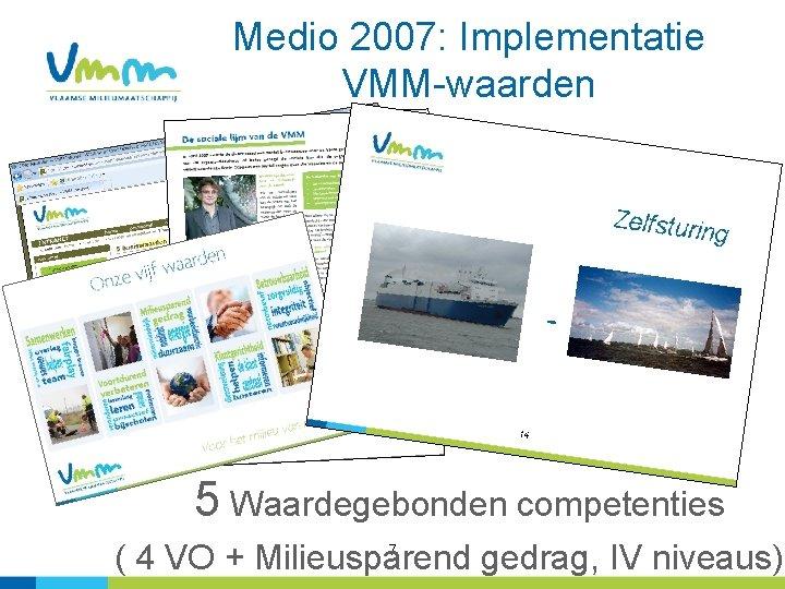 Medio 2007: Implementatie VMM-waarden 5 Waardegebonden competenties 7 ( 4 VO + Milieusparend gedrag,
