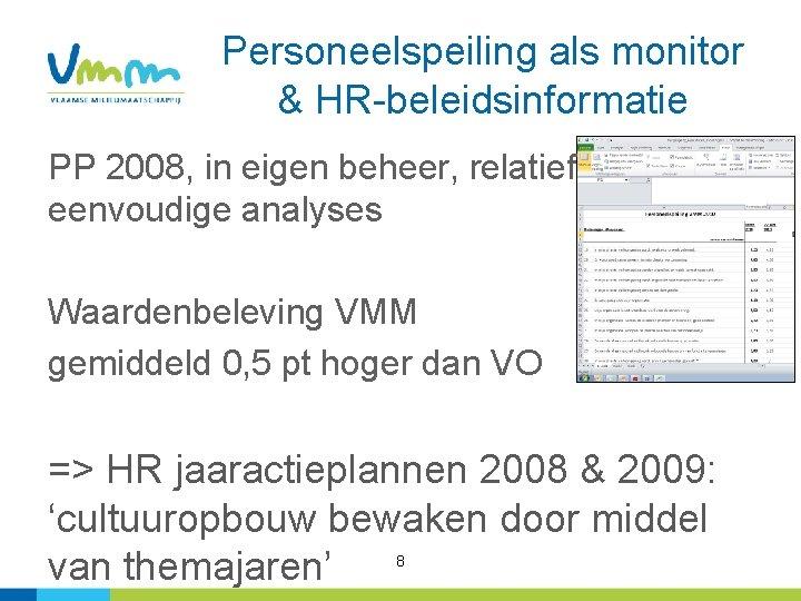Personeelspeiling als monitor & HR-beleidsinformatie PP 2008, in eigen beheer, relatief eenvoudige analyses Waardenbeleving