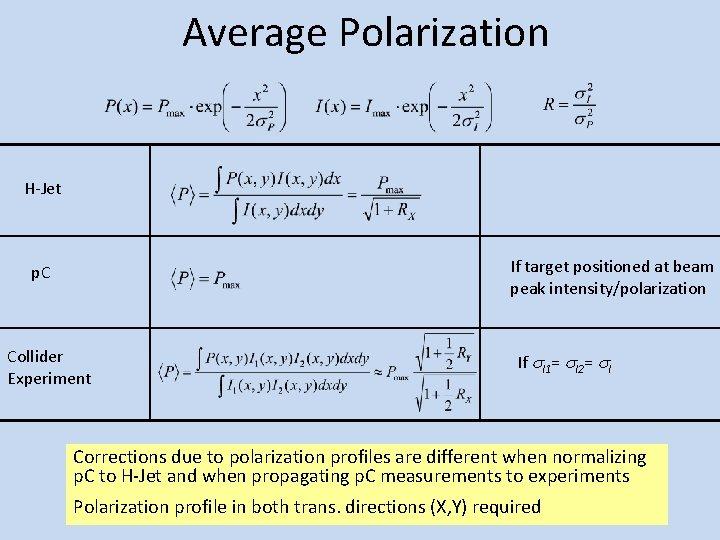 Average Polarization H-Jet If target positioned at beam peak intensity/polarization p. C Collider Experiment