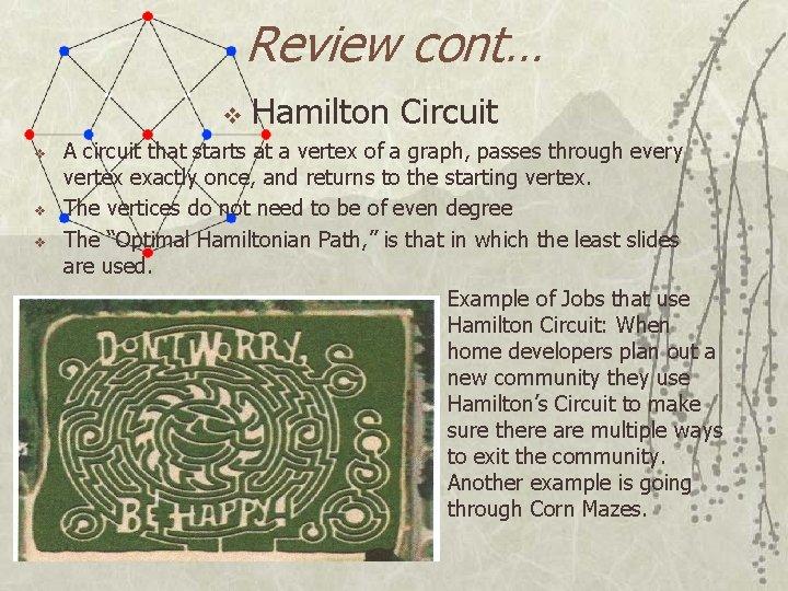 Review cont… v v Hamilton Circuit A circuit that starts at a vertex of