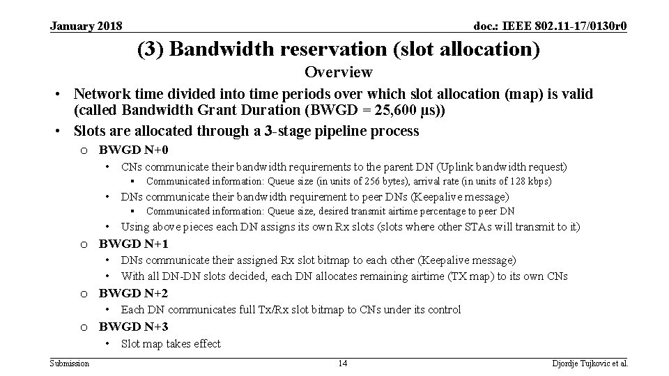 January 2018 doc. : IEEE 802. 11 -17/0130 r 0 (3) Bandwidth reservation (slot