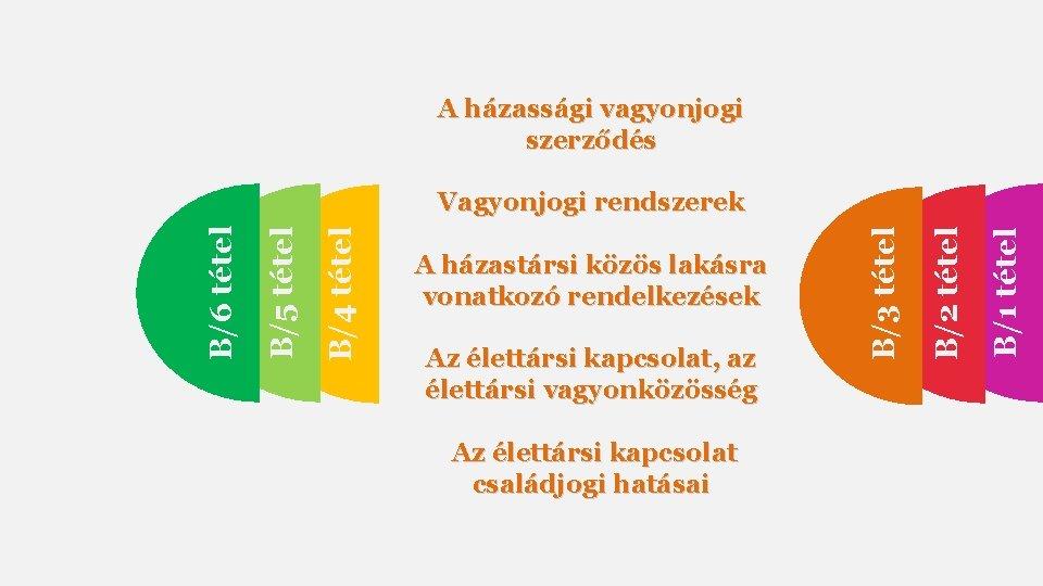 A házassági vagyonjogi szerződés Az élettársi kapcsolat családjogi hatásai B/1 tétel Az élettársi kapcsolat,
