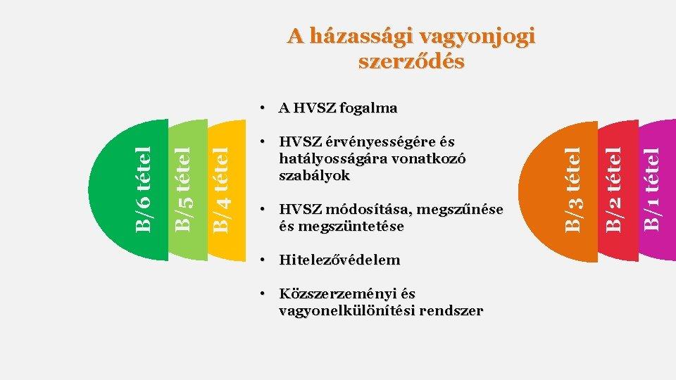 A házassági vagyonjogi szerződés • Hitelezővédelem • Közszerzeményi és vagyonelkülönítési rendszer B/1 tétel •