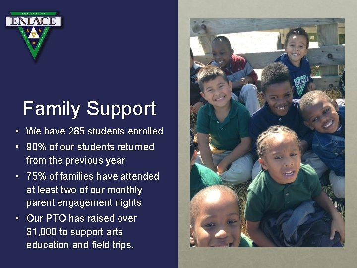 Family Support • We have 285 students enrolled • 90% of our students returned