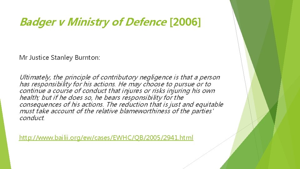 Badger v Ministry of Defence [2006] Mr Justice Stanley Burnton: Ultimately, the principle of