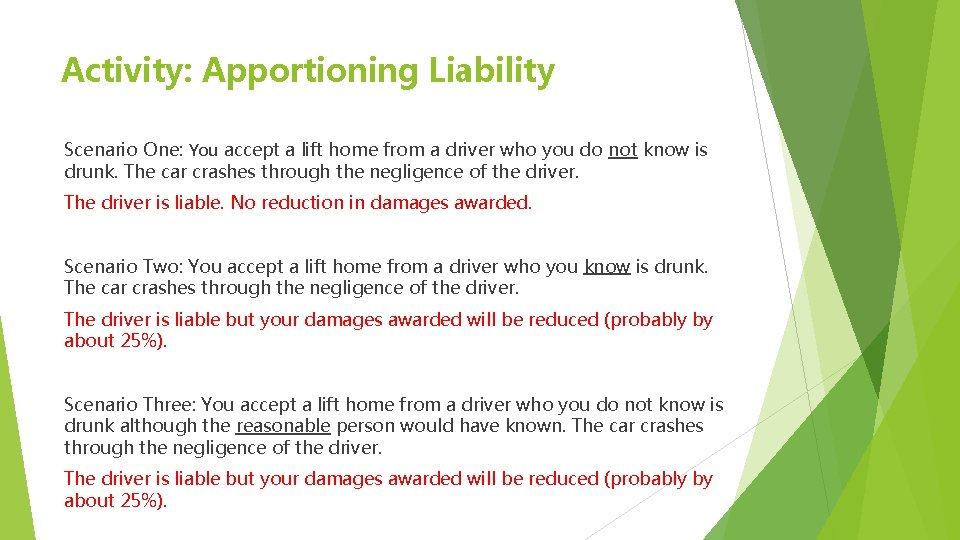 Activity: Apportioning Liability Scenario One: You accept a lift home from a driver who