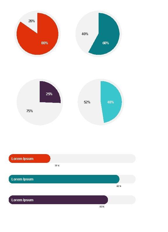 20% 40% 80% 60% 25% 52% 48% 75% Lorem Ipsum 35% Lorem Ipsum 90%